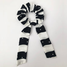 Load image into Gallery viewer, Black and White Scrunchie with Tie