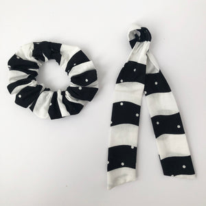 Black and White Scrunchie with Tie