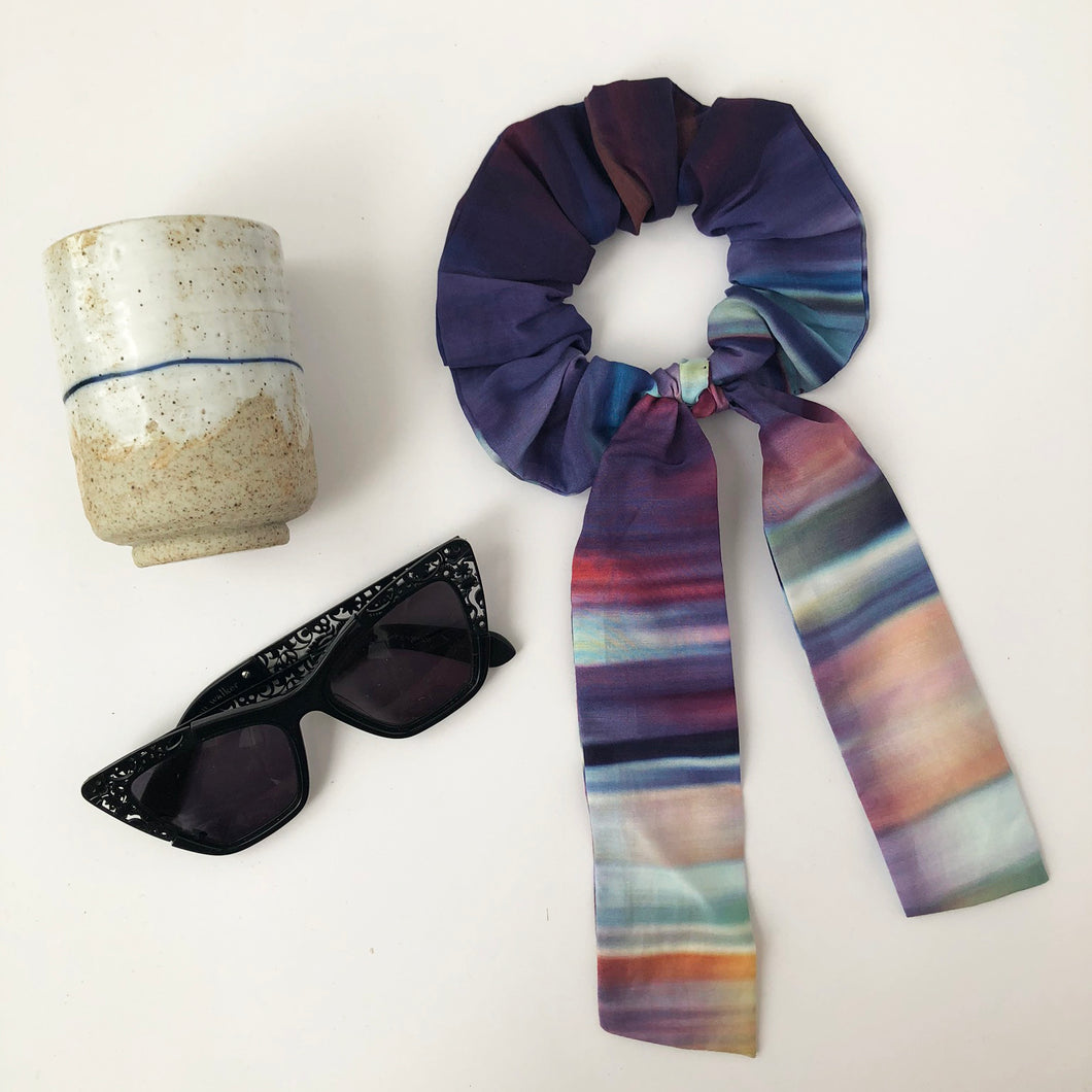 Multi Colour Ombre Cotton Silk Scrunchie with Tie
