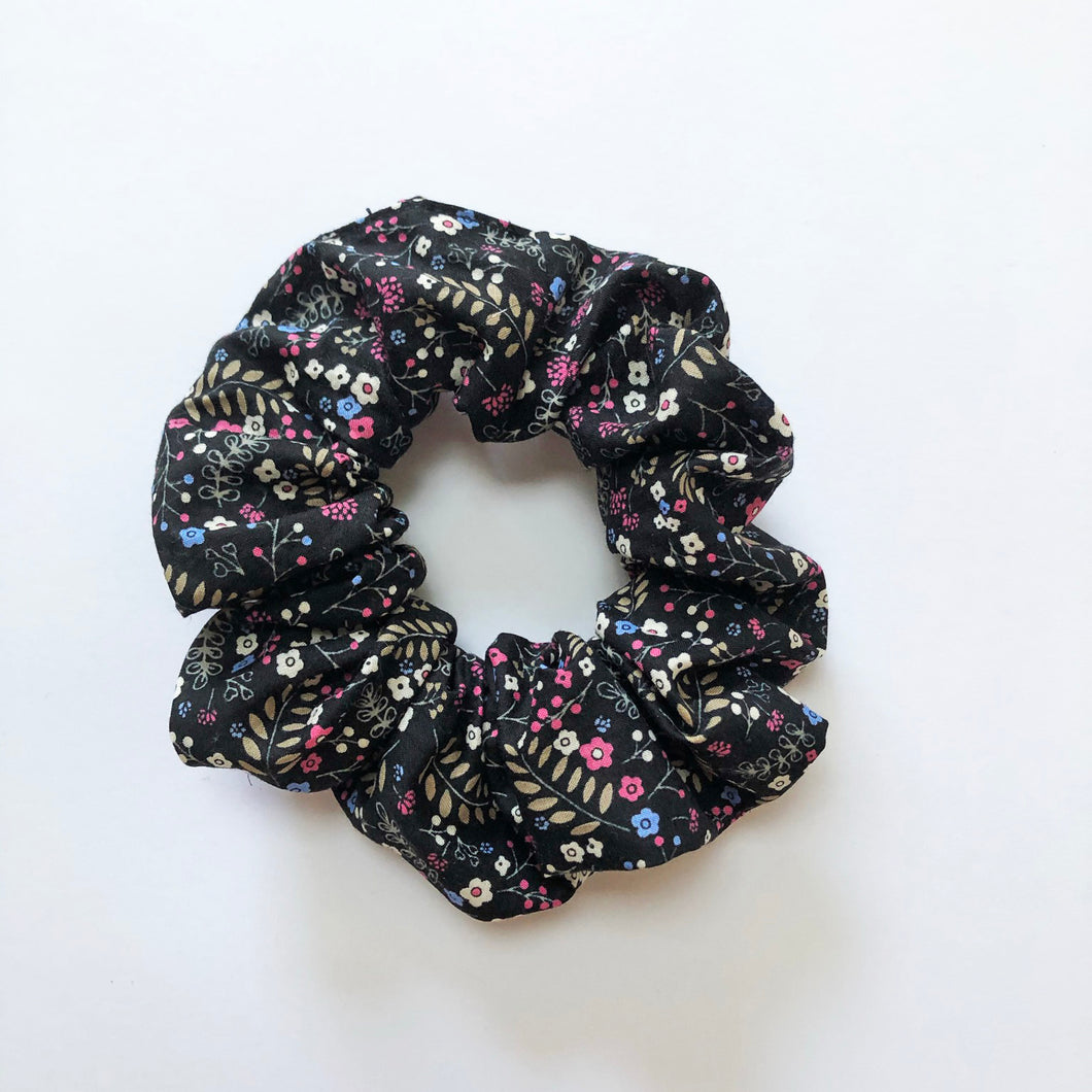Black Floral Cotton Scrunchie