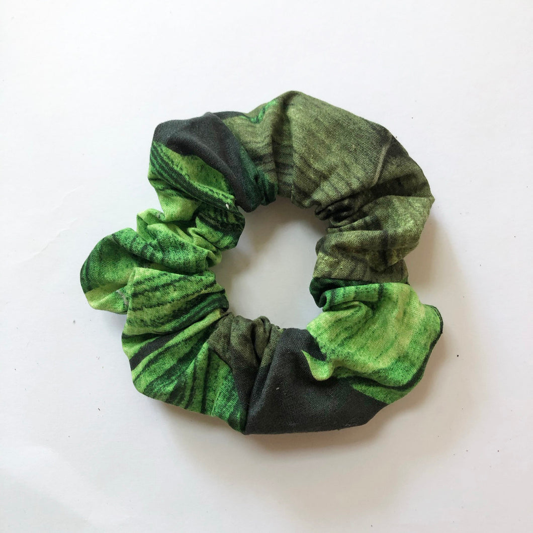Green Tropical Cotton Scrunchie