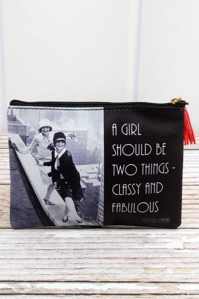 Fashion Quote Vintage Monochrome Pouch