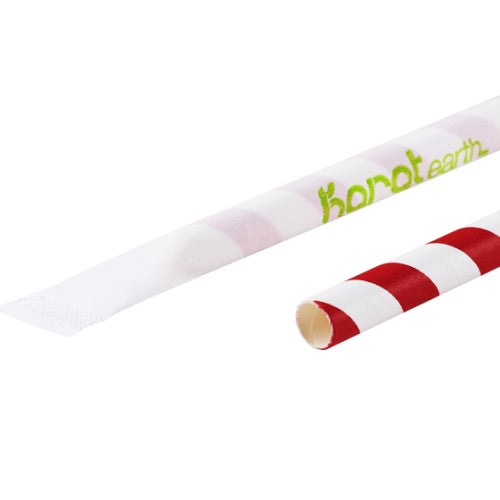 Popote Biodegradable de Papel con Diseño Espiral Estuchado, 23cm x 7mm, Varios Colores - Karat Earth