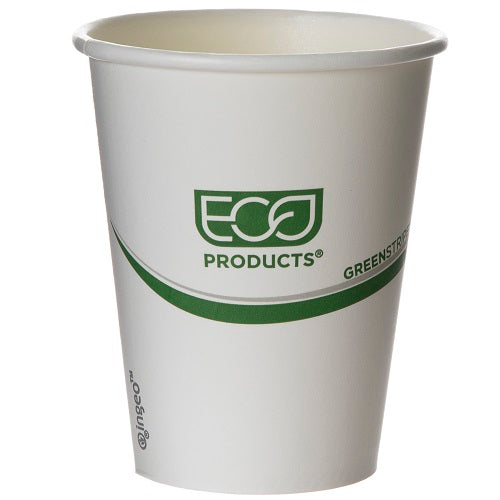 Vaso Biodegradable de Papel para Bebidas Calientes, Blanco, varios tamaños - Green Stripe - Eco-Products
