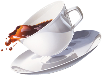 coffee spilling over a white cup in a saucer