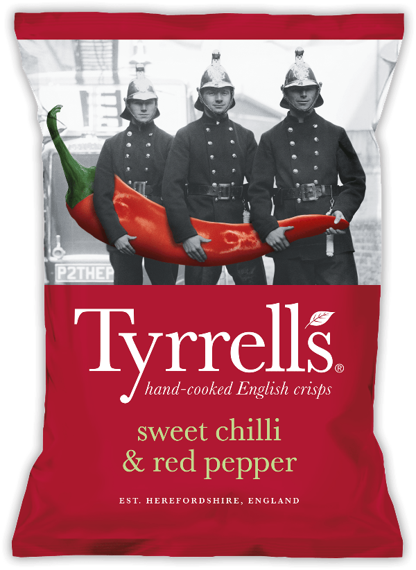SnacksToGo Singapore delivery of Tyrrell's Sweet Chilli and Red Pepper Potato Crisps (24 x 40g)