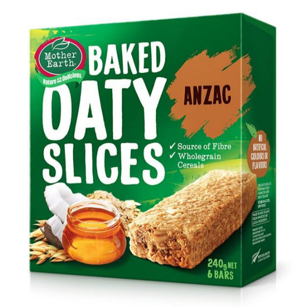 SnacksToGo Singapore delivery of Mother Earth Baked Oaty Slices Anzac (6x40g)
