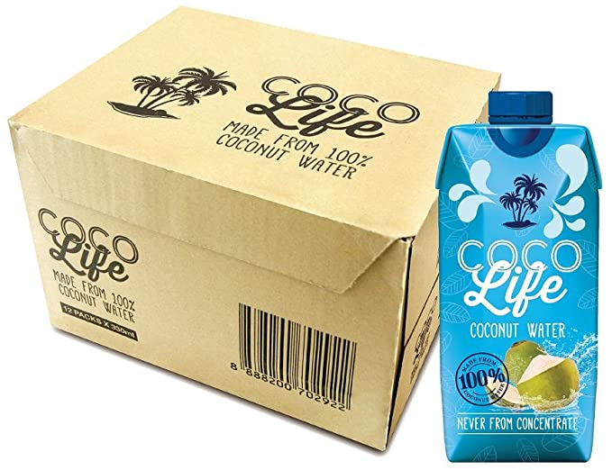 Coco life water tetra pack in front of cardboard box