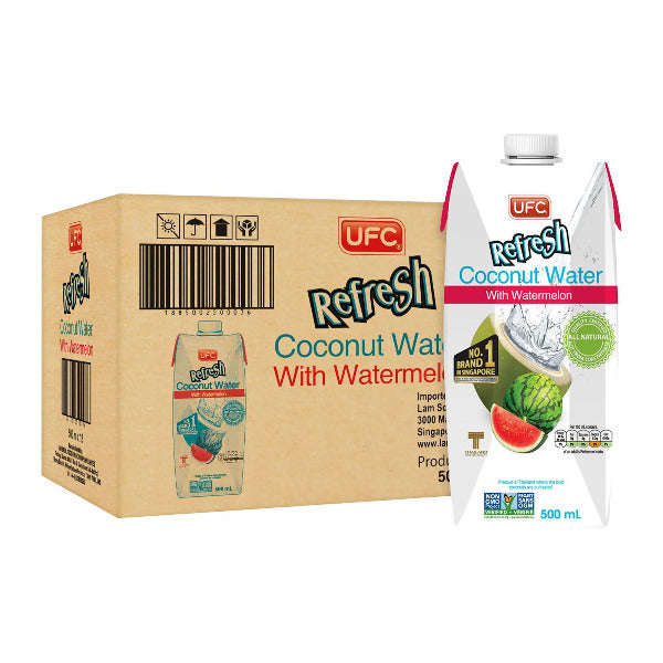 SnacksToGo Singapore delivery of UFC Refresh Coconut Water With Watermelon (500ml)