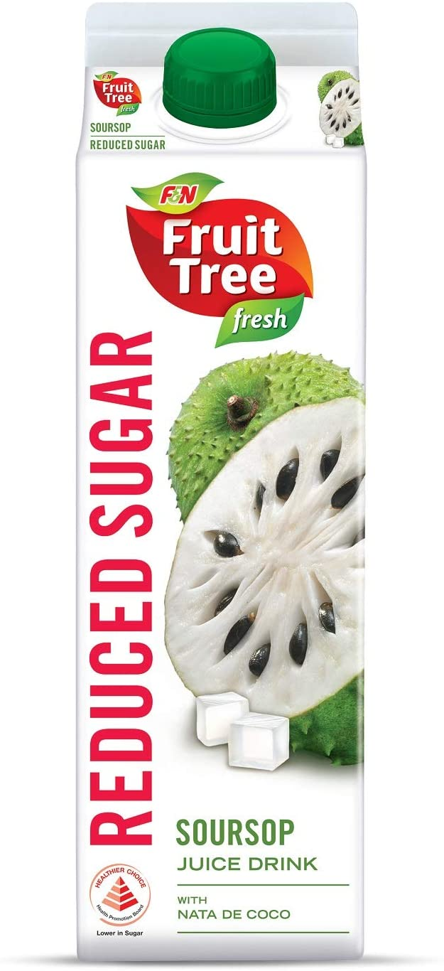 SnacksToGo Singapore delivery of F&N Fruit Tree Fresh Soursop Reduced Sugar (1litre)