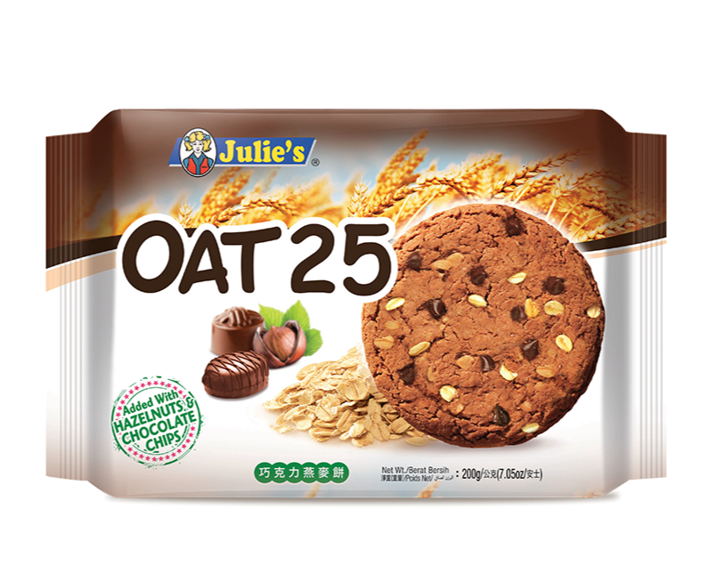 SnacksToGo Singapore delivery of Julie's Oat 25 Hazelnut and Chocolate Chips (200g)