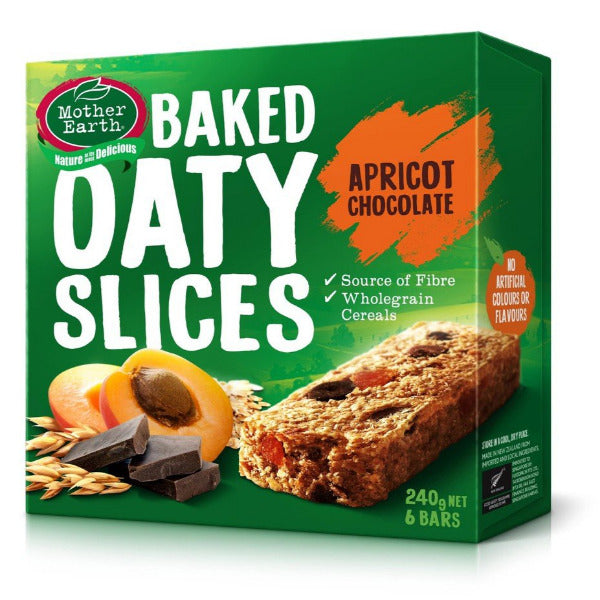 SnacksToGo Singapore delivery of Mother Earth Baked Oaty Slices Apricot and Chocolate (6x40g)