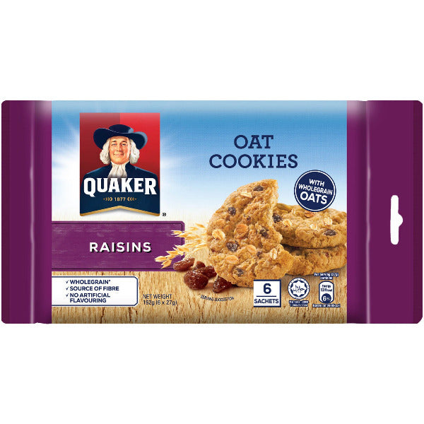 SnacksToGo Singapore delivery of Quaker Mini Oat Cookies Oatmeal and Raisin (162g)