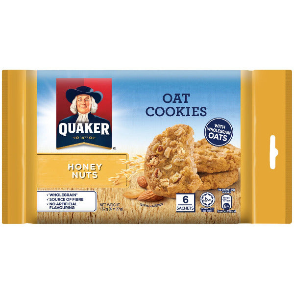 SnacksToGo Singapore delivery of Quaker Mini Oat Cookies Honey Nuts (162g)