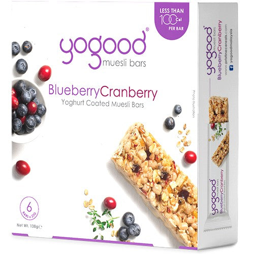 SnacksToGo Singapore delivery of YoGood Blueberry and Cranberry Muesli Bar (6x23g)