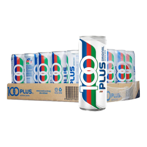 100 plus can in front of a box of 100 plus cans