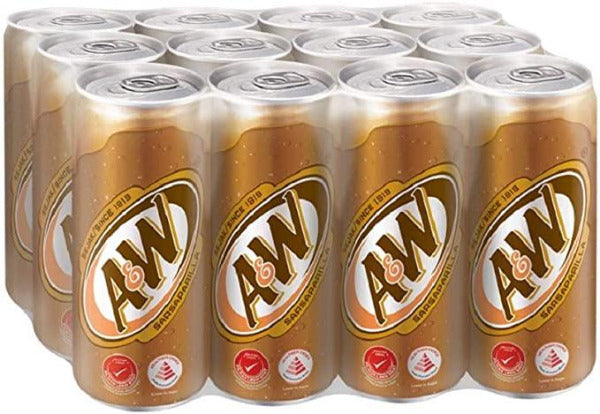 A&W root beer pack of 12 cans in a transparent wrap