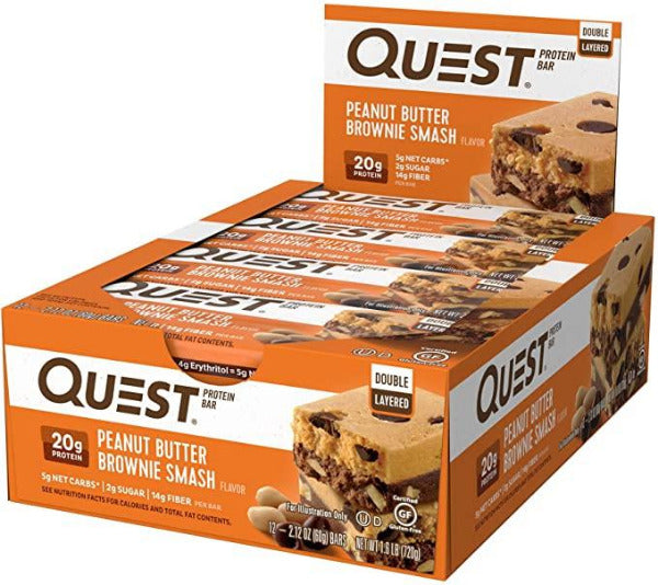 SnacksToGo Singapore delivery of Quest Bar Peanut Butter Brownie Smash (60g)