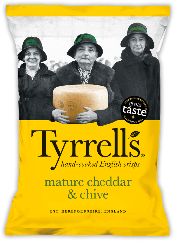 SnacksToGo Singapore delivery of Tyrrell's Mature Cheddar and Chives Potato (24 x 40g)