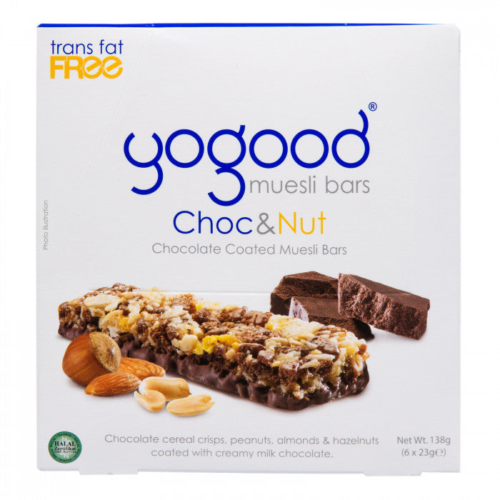 SnacksToGo Singapore delivery of YoGood Muesli Bar Chocolate And Nuts (6x23g)