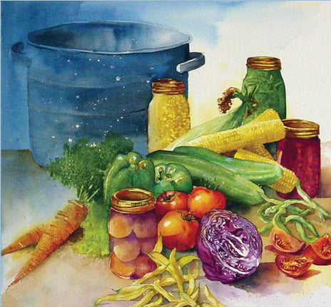 Painting of Canning Pot with Vegetables.