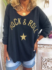 Long Sleeve Casual Letter Shirts & Tops