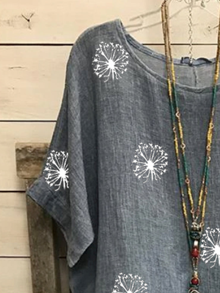 Casual vintage cotton and linen bat sleeve dandelion printed loose top