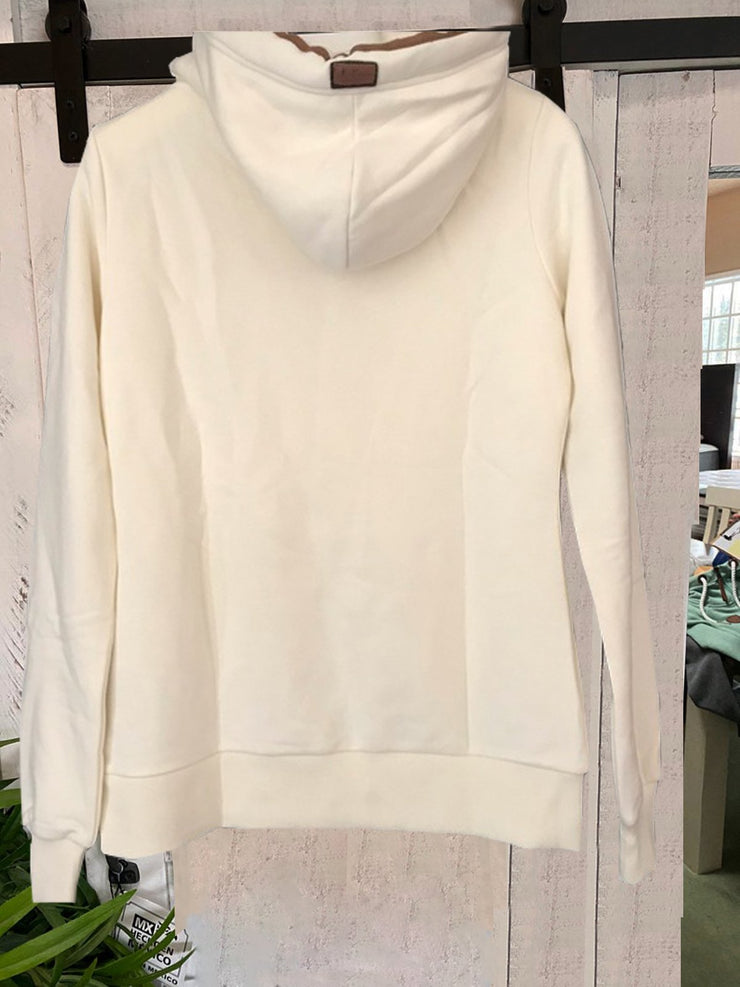 White Hoodie Zipper Long Sleeve Sweatshirt