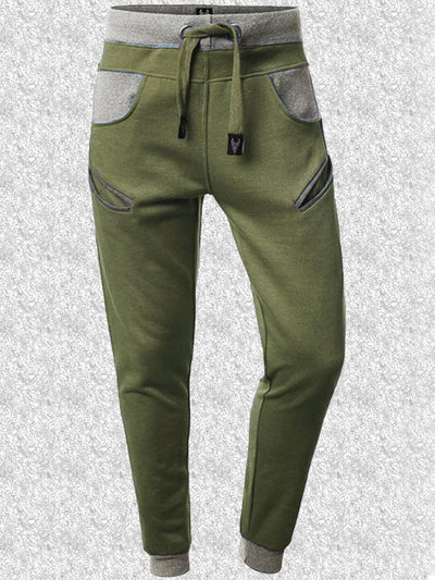 Green Casual Cotton-Blend Pants