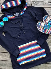 Black Casual Hoodie Stripes Sweatshirt