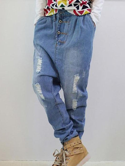 Blue Denim Casual Daily Ripped Pants