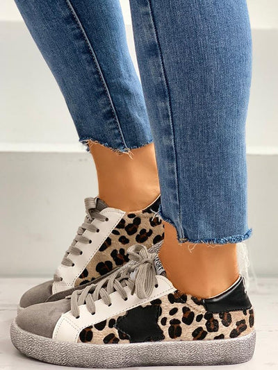 Leopard Print Stitching Star Lace Dirty Dirty Casual Shoes