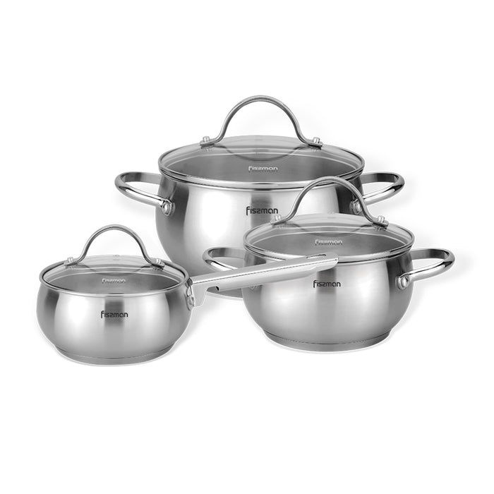 6PCS Cookware set MARTINEZ 6 pcs with glass lids / mirror outside (stainless steel)