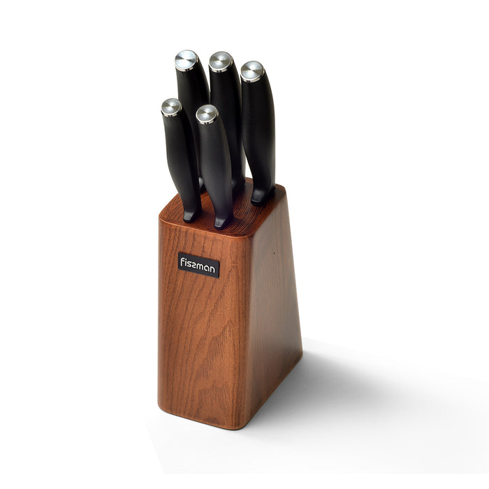 6 pc knife set TESSEN with wooden block (3Cr13 steel)