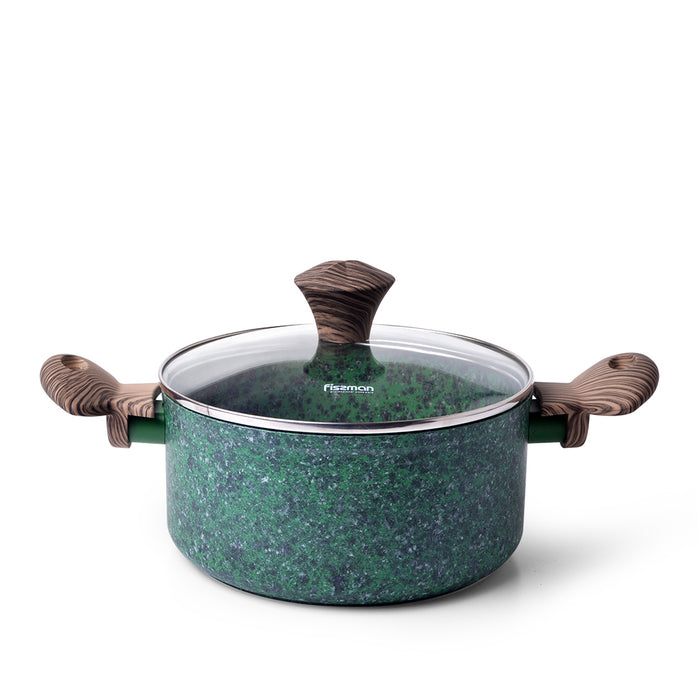 Stockpot  MALACHITE 20x9.8 cm / 2.7 LTR with glass lid with induction bottom (aluminium with non-stick coating)