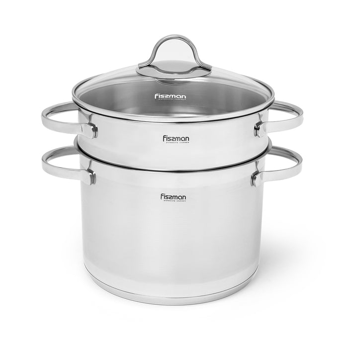 Stockpot GABRIELA 20x14.5 cm / 4.5 LTR with glass lid and steamer insert (stainless steel)