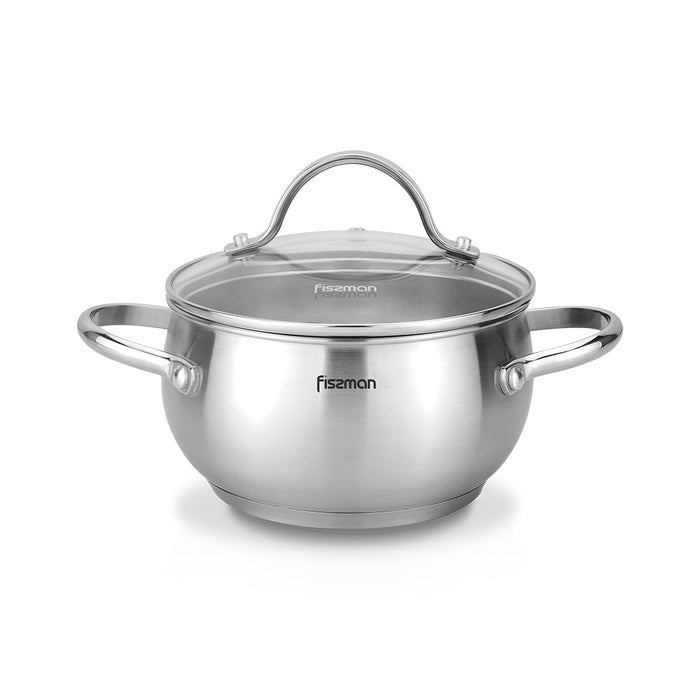 Stockpot MARTINEZ 18x10 cm / 2.5 LTR with glass lid (stainless steel)