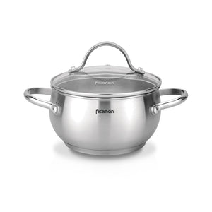 Stockpot MARTINEZ 20x11 cm / 3.5 LTR with glass lid (stainless steel)