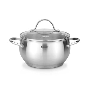 Stockpot MARTINEZ 24x13 cm / 5.9 LTR with glass lid (stainless steel)