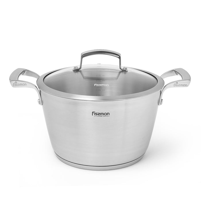 Stockpot  MILLENIUM 24x14 cm / 5.6 LTR with glass lid (stainless steel)