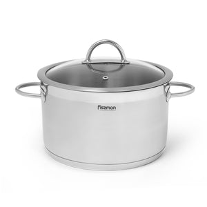 Stockpot BENJAMIN 28x16 cm / 9.8 LTR with glass lid (stainless steel)