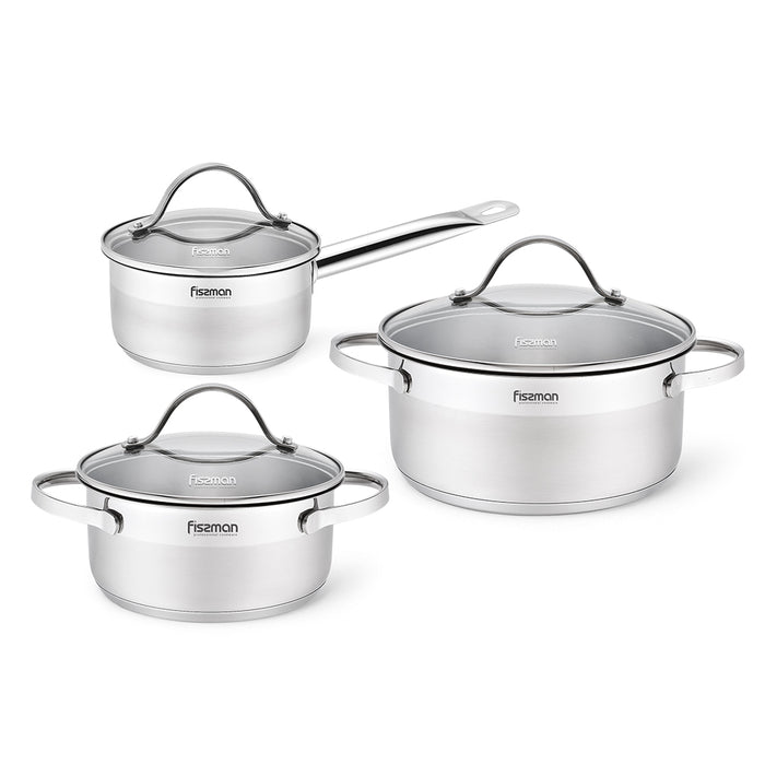 Cookware set TORCY 6 pcs with glass lids