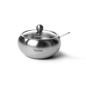 Sugar bowl with glass lid and spoon 460 ml (stainless steel)