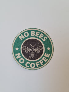 sticker, starbucks, bees, tree free paper, bee saving paper, coffee, funny