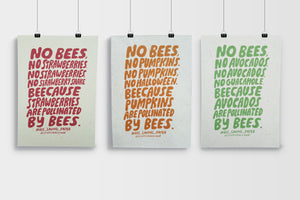 Lettering style posters printed on Bee Saving Paper by Grace Owen