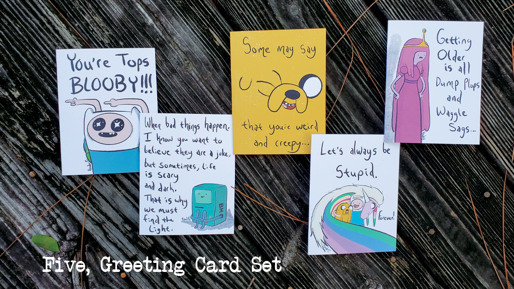 Adventure Time Greeting Cards! - Individual or Five-Card Set!