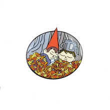 Load image into Gallery viewer, Wirt and Greg Asleep in Leaves, Soft Enamel Pin, Black Plating + Epoxy