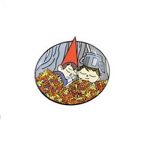 Wirt and Greg Asleep in Leaves, Soft Enamel Pin, Black Plating + Epoxy