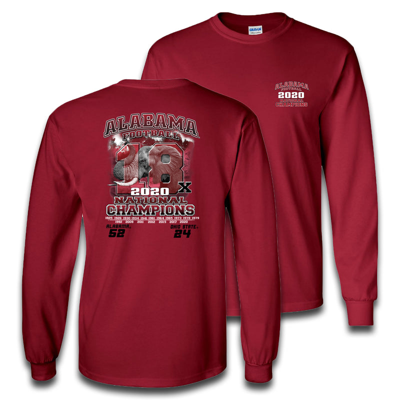 18x Elephant | Alabama 18x National Champions | Long-sleeve T Shirt | Crimson
