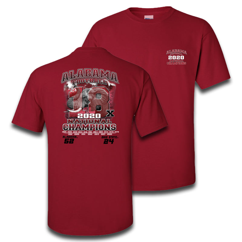 18x Elephant | Alabama 18x National Champions | Short-Sleeve Crimson